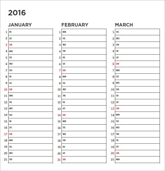 FREE 11+ Blank Calendar Templates in Free Samples