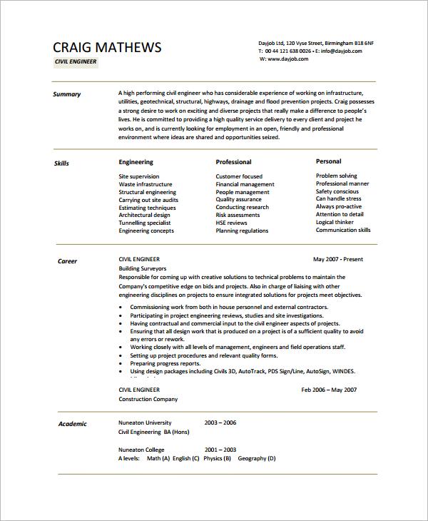 civil engineer sample resume download