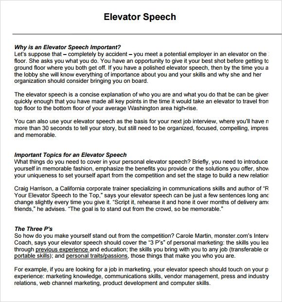 elevator speech examples for business