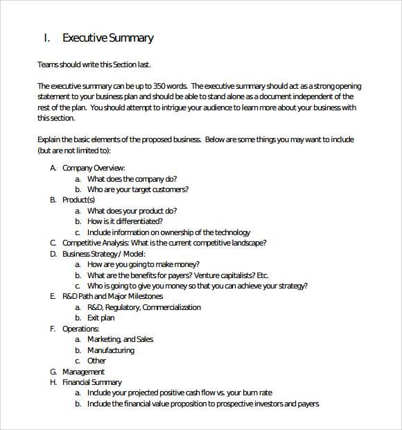 free executive summary template word