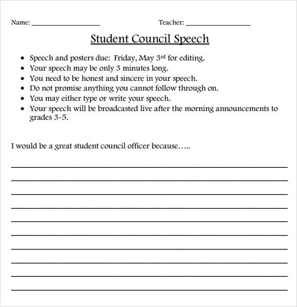 Elementary Student Sample Speech - Resume Examples   Resume Template