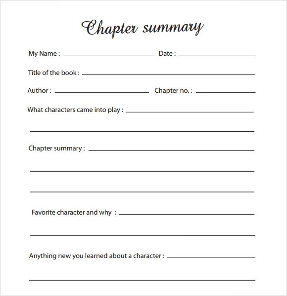 Sample Chapter Summary Template 6 Free Documents in PDF