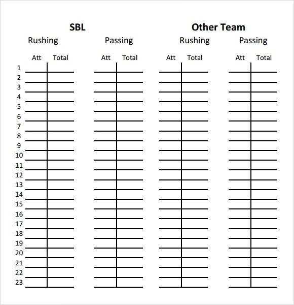 FREE 12+ Sample Football Score Sheet Templates in PDF
