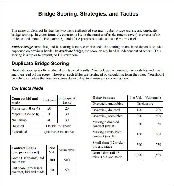 Sample Bridge Score Sheet 9 Free Documents In PDF