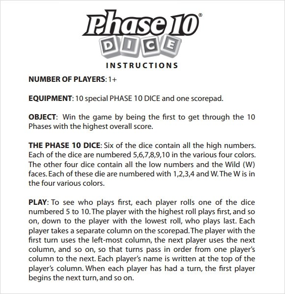 Rules To Phase 10