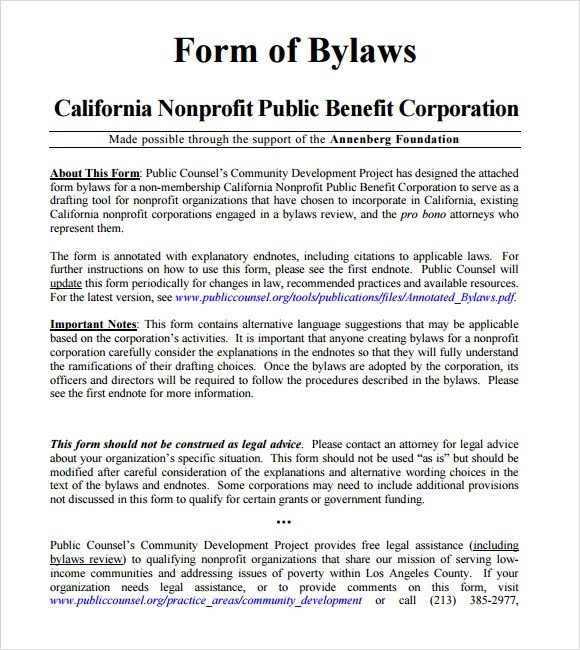 Sample Bylaws Template 8 Free Documents In PDF