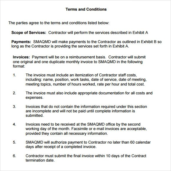 Sample Terms and Conditions  9 Download Free Documents in PDF  Word