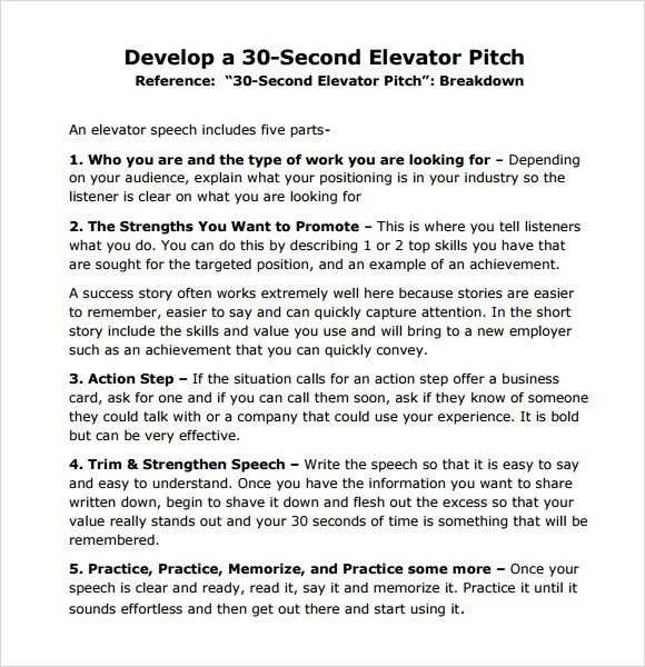 Sample Elevator Pitch Example 6 Documents In Pdf