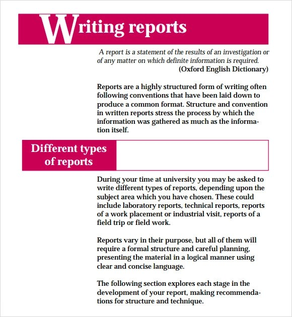 Report Writing Format  7 Download Free Documents in PDF