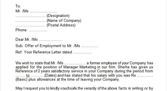 How To Write An Employment Verification Letter Of Visa