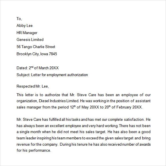 example of proof of employment letter