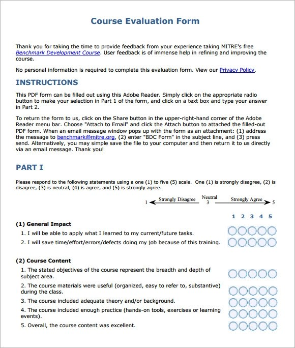 course evaluation forms template – Course Evaluation Form