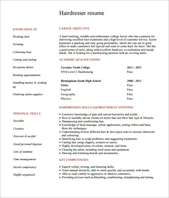 Hairdressing Cv Template. Free Freelance Hair Stylist Resume Pdf
