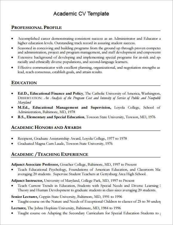 academic cv template microsoft word