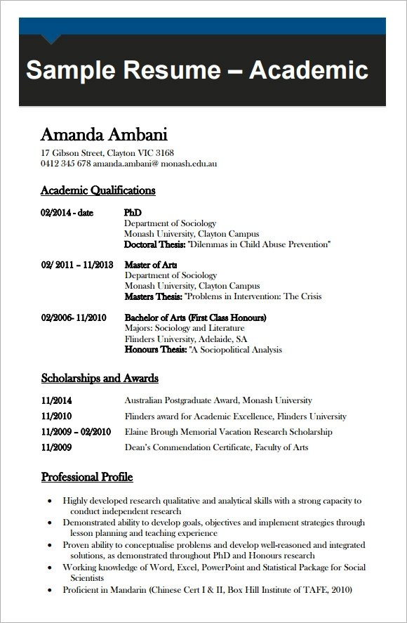 9 Academic CV Templates Download for Free  Sample Templates