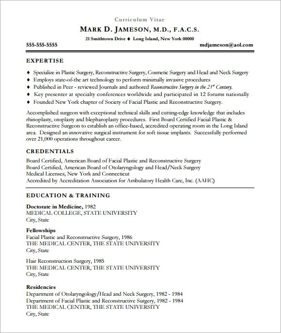 Sample Medical CV Template  7 Download Documents in PDF
