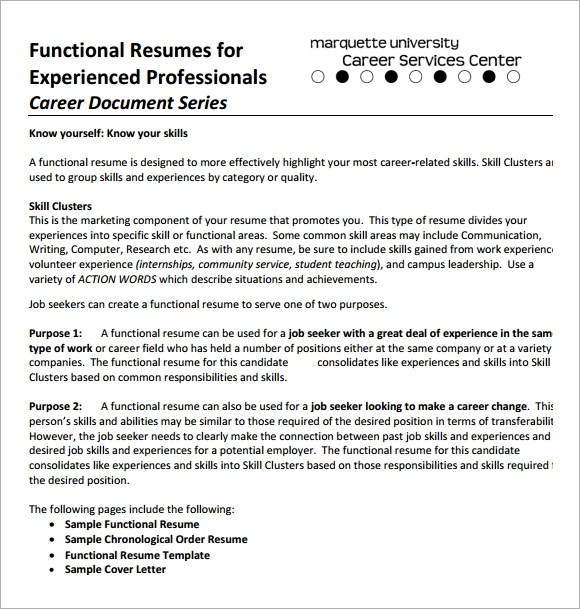 Sample Functional CV 9 Documents In PDF Word