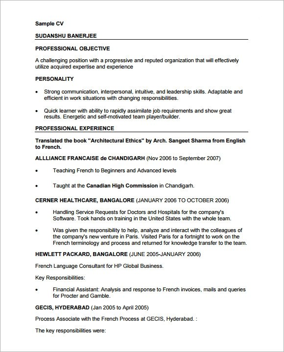 9 Sample Professional CV Templates Download for Free  Sample Templates