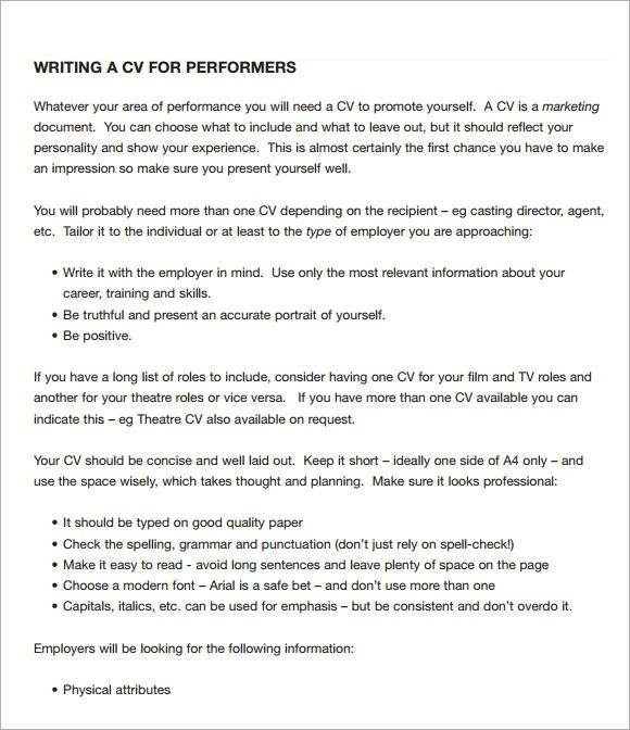 8 Acting CV Templates Download For Free Sample Templates
