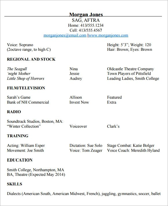 Sample Acting CV Template  7 Download Documents in PDF