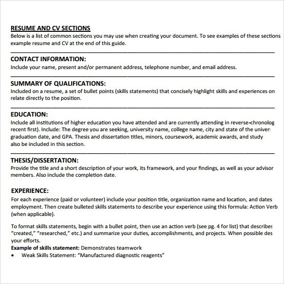 10 Student CV Templates Download For Free Sample Templates
