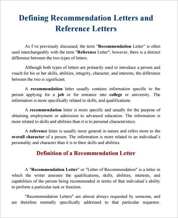 letter of re mendation character template