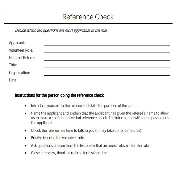 FREE 22+ Sample Reference Check Templates in PDF | MS Word | Excel | Google Docs | Pages | MS Outlook