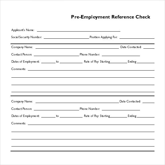 Sample reference check template for Pre employment application template