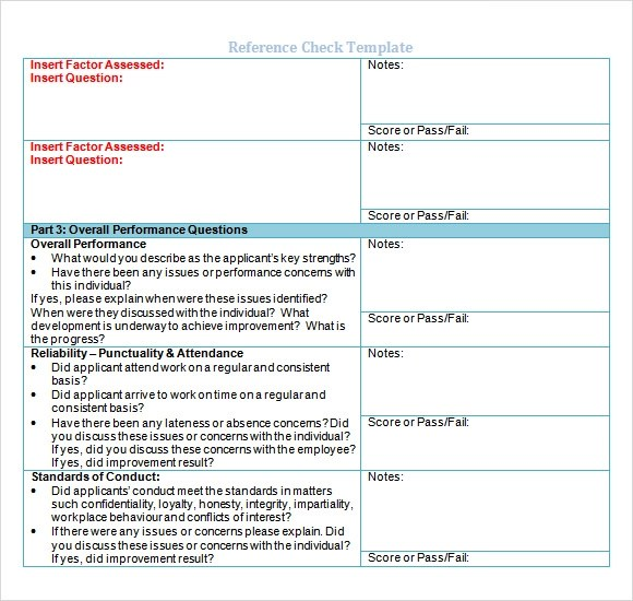 Sample Reference Check Template 14 Free Documents In PDF Word Excel
