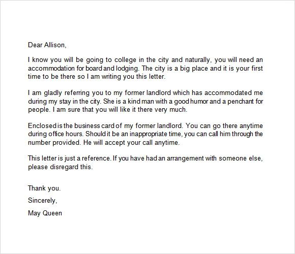 landlord recommendation letter examples