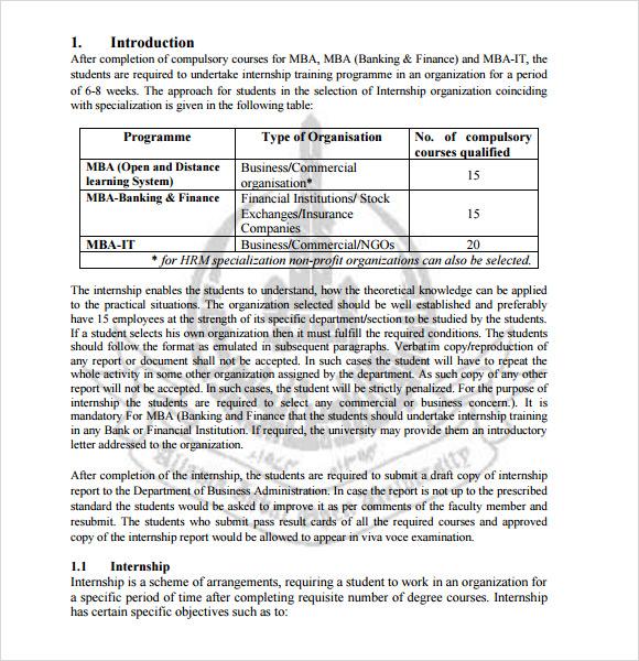Sample Internship Report Template | hp2019 wearepure us