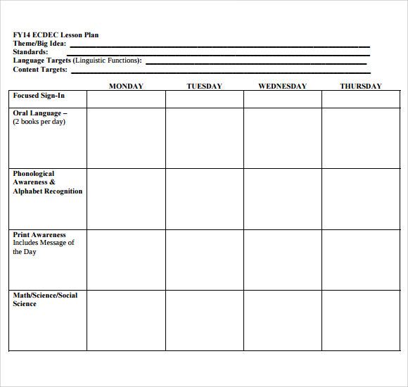 11+ Sample Blank Lesson Plans  Sample Templates