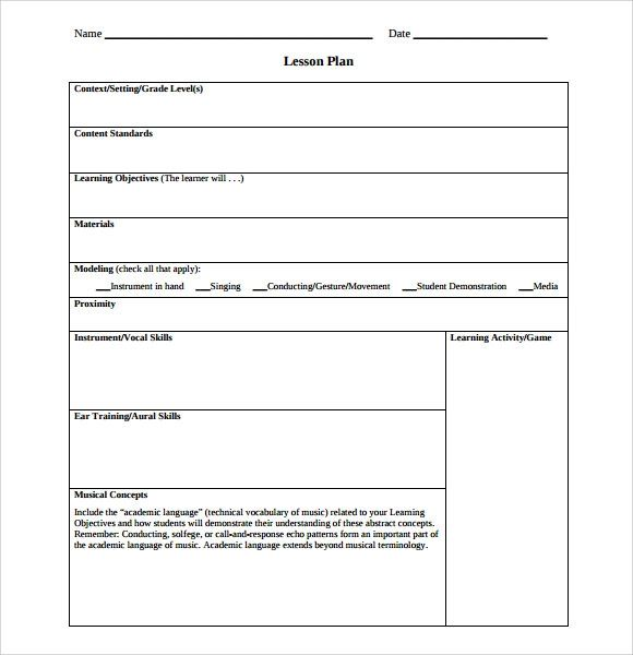 ms word lesson plans