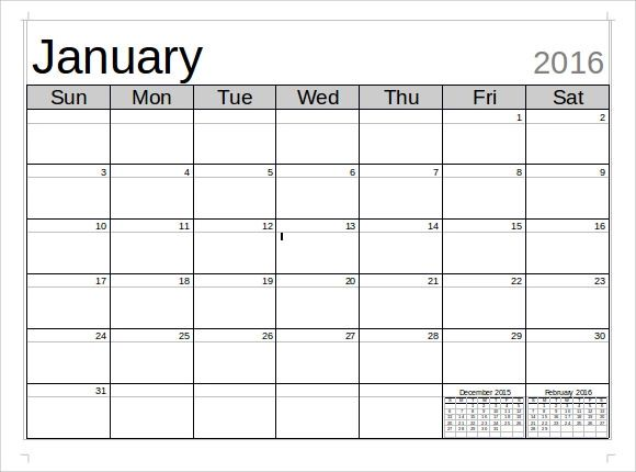 monthly calendar microsoft word