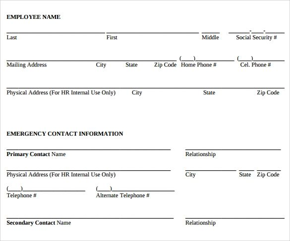 simple employee information form