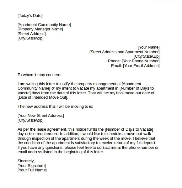 Sample Letter Of Intent To Vacate Apartment | Docoments Ojazlink