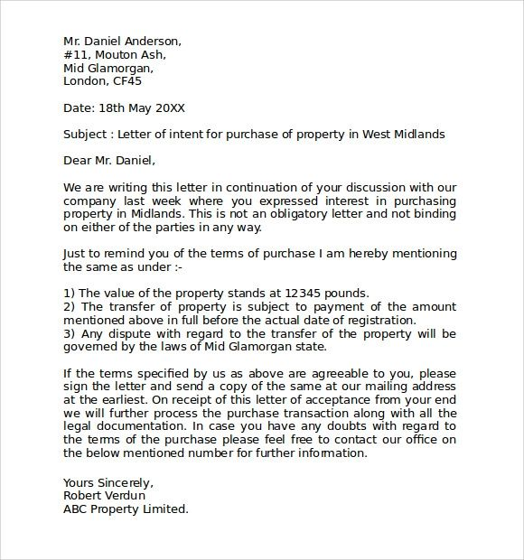 letter of intent to purchase a business