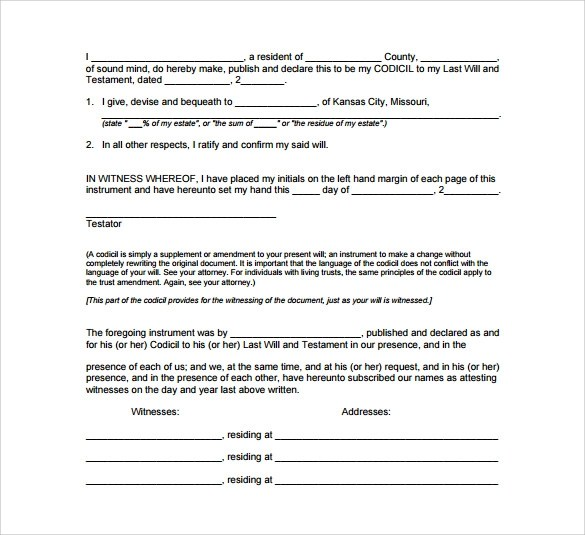 photograph about Free Printable Codicil Form referred to as Remaining Will And Testomony Codicil Variety Pattern Buyer