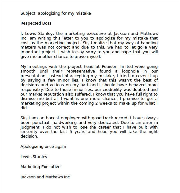 Apology Letter Sample To Boss   brandforesight co