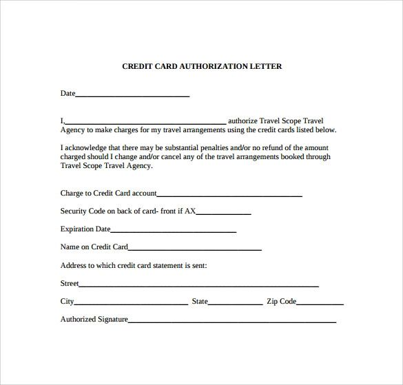 free printable credit card authorization form