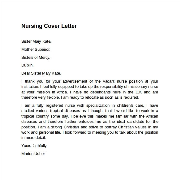 8 Nursing Cover Letter Templates To Download Sample