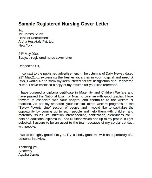 8 Nursing Cover Letter Templates to Download  Sample Templates