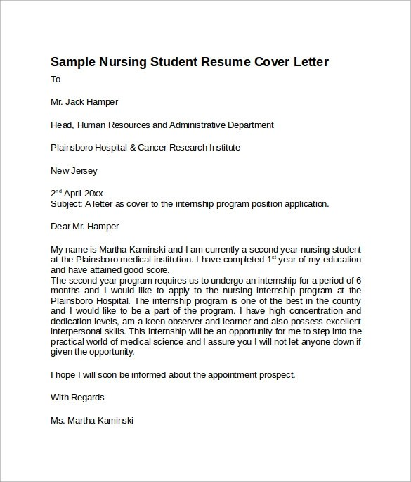 Sample Nursing Cover Letter Template  8 Download Free Documents In PDF Word