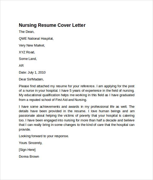nursing resume cover letter template