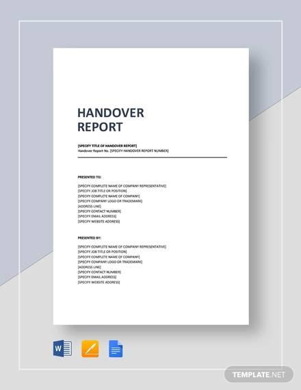 Sample Handover Report  16 Documents in PDF Word Docs