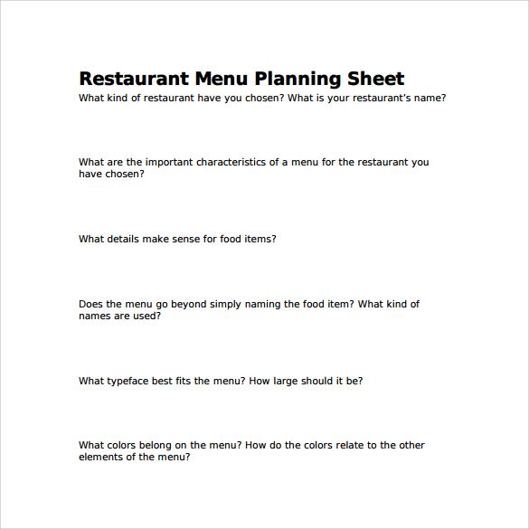restaurant menu planning sheet