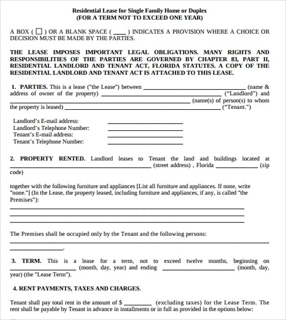 11+ Residential Lease Agreements – Samples, Examples & Formats ...