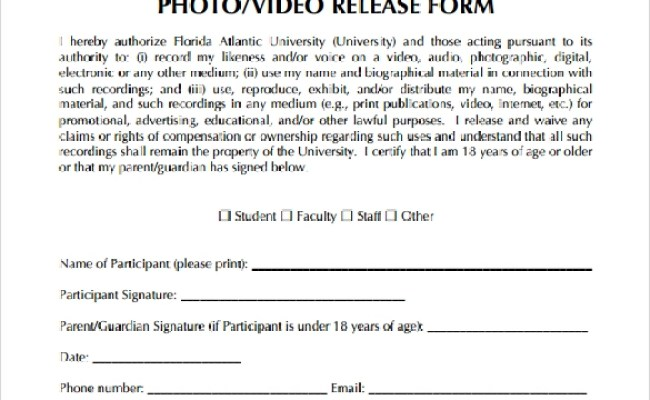 Free 8 Video Release Forms In Pdf