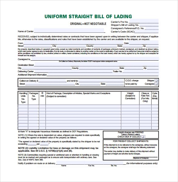 Sample Bill Of Lading Form 9 Download Free Documents In PDF