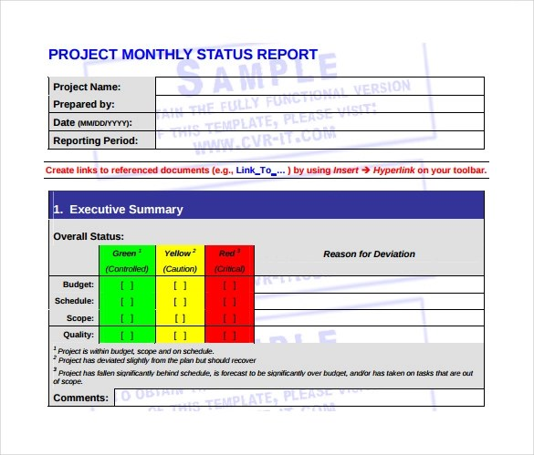 Monthly Management Report Template 10 Documents In PDF